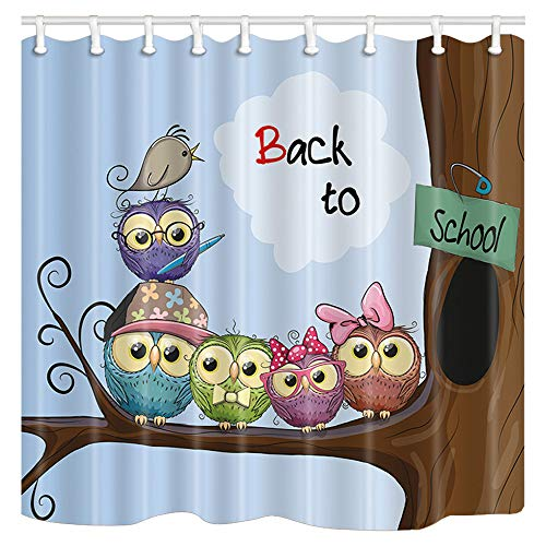 Cute and Funny Kids' Anime School Shower Curtain with Cuddly Owls