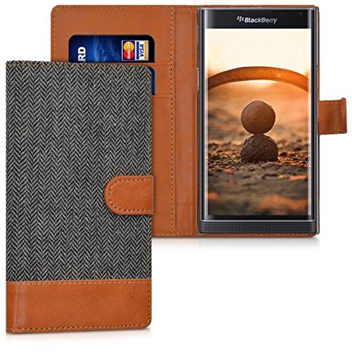 kwmobile BlackBerry Priv Hülle - Kunstleder Wallet Case für BlackBerry Priv mit Kartenfächern & Stand - Anthrazit Braun