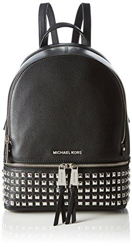 Michael Kors - Rhea Zip Medium Pyr Studded Backpack, Bolsos mochila Mujer, Negro (Black), 11.4x29.85x25.4 cm (B x H T)