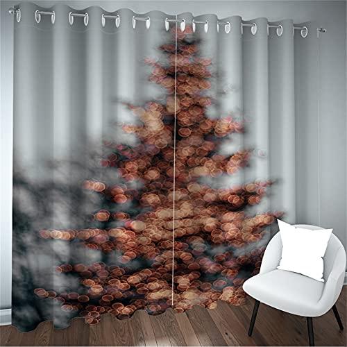 FACWAWF Cortina De Decoración Navideña Patrón De Árbol De Navidad Digital 87D Sala De Estar Decoración De Dormitorio Balcón Habitación De Niños Cortina Insonorizada De Alto Sombreado 2xW168xH229cm