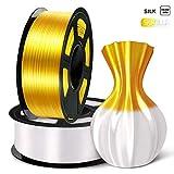 SUNLU 3D Filament 1.75, Shiny Silk PLA Filament 1.75mm, 2KG PLA Filament 0.02mm for 3D Printer 3D Pens,Light Gold + White