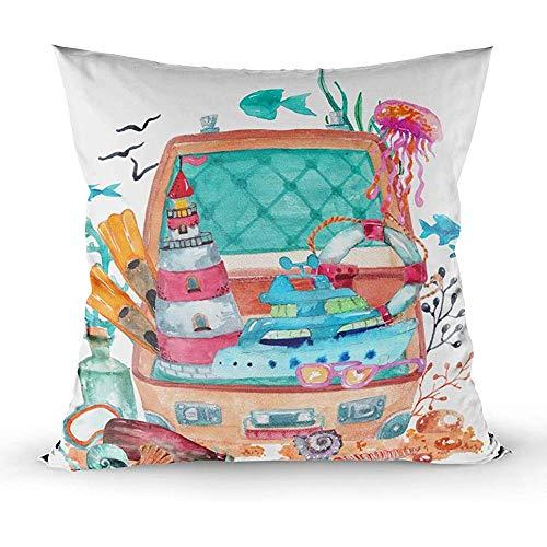 Ducan Lincoln Pillow Case 2PC 18X18,Kissenbezug,Quadratische Wurfkissenbezüge,Aquarell-Seeelement-Sammlungs-Seeboots-Leuchtturm-Flaschen-Fisch-Hintergrund