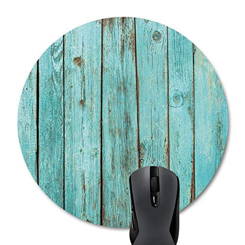 Wknoon Turquoise Wood Teal Barn Wood Weathered Grain Round Mouse Pad