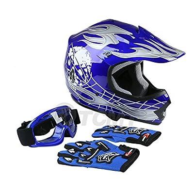 TCMT Dot Youth & Kids Motocross Offroad Street Helmet Blue Skull Motorcycle Youth Helmet Dirt Bike Motocross ATV Helmet+Goggles+Gloves L