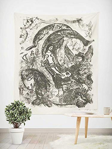 Tapiz Pared,Superficie lijada,Colcha de pícnic,Manta de Pared,omnihabits Tapiz,paño de Pared, tapicería Salón dormitorio,Cuadro famoso chagall caballo artista intérprete o ejecutante 130×150cm