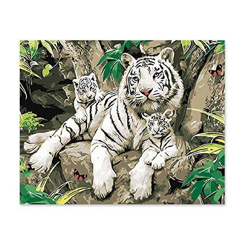 YLAXX Digitales Ölgemälde DIY Tier Tiger Mutter und Sohn dekorative Acrylfarbe professionelle Leinen Leinwand 40X50Cm