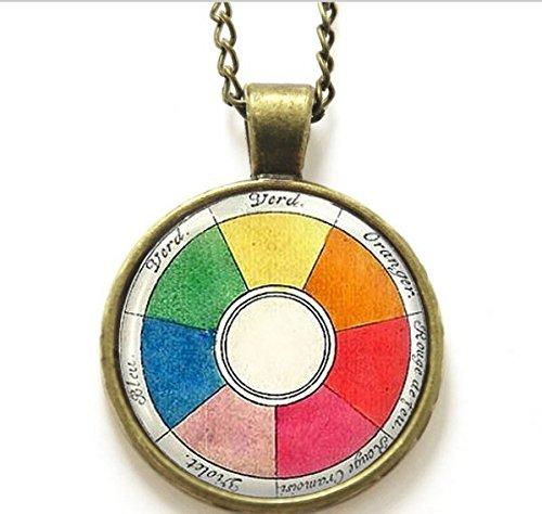 Vintage-Halskette, Rad-Halskette, Künstlerschmuck, Lehrer, Studenten, Kunst-Halskette, Künstler-Druck-Glas-Halskette