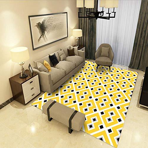 HXJHWB Moderne zachte tapijten - Moderne gele geometrische onbelangrijke plafond van de woonkamertapijt-salontafelvloermatten slaapkamer