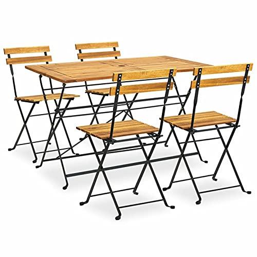 Festnight Conjunto de Muebles de Jardín Comedor, para 4 Personas, 1 Mesa + 4 Sillas