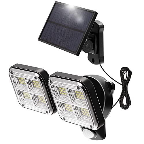 ロハス ソーラーライト 120高輝度LED センサーライト 防犯ライト 防災ライト 屋外ウォールライト パルネ分離型 人感センサー自動点灯 2面発光 3つ知能モード 太陽光発電 IP65防水 壁掛け/庭先/表玄関/駐車場などで活躍 ネジと5mケーブル付き