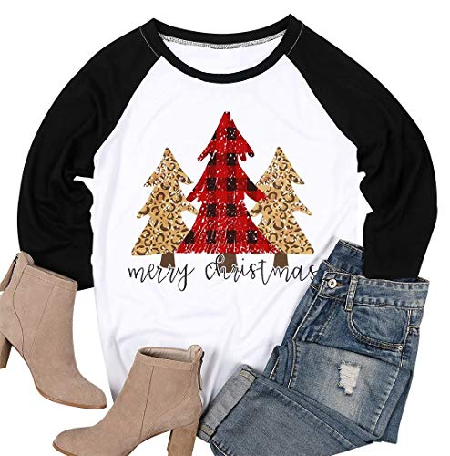 MAXIMGR Women Plus Size Christmas T-Shirt 3/4 Sleeve Raglan Xmas Shirt Black