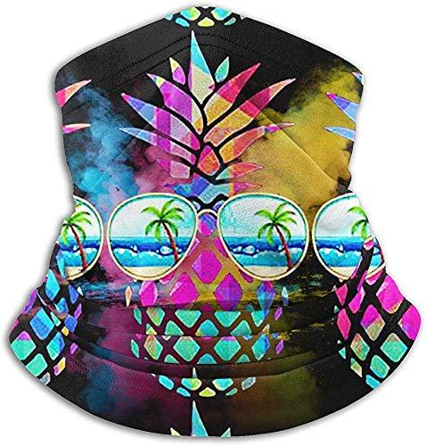 xinfub Unisex Piña Arcoiris con Vidrio Calientapiernas de Invierno Polainas Diadema para el Clima frío Tubo Máscara Facial Bufanda térmica Cuello Protección UV Fiesta C