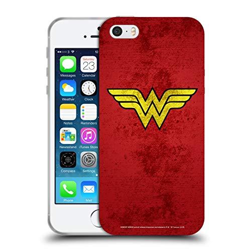 Head Case Designs Licenza Ufficiale Wonder Woman DC Comics Aspetto Sdrucito Logo Cover in Morbido Gel Compatibile con Apple iPhone 5 / iPhone 5s / iPhone SE 2016