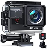 Victure 4K 50FPS Touch Screen Action Camera with 4X Zoom, Dual Batteries with Charger, 20MP 20MP WiFi Sports Camcorder, Remote Control, Upgraded EIS, 40M Underwater Camera and Accessories Kit Included