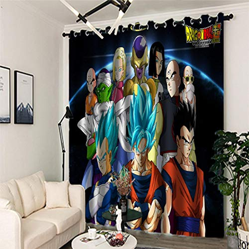Blackout Curtains 3D Digital Printing, 2 Panels Curtain with Eyelet, Polyester, Dragon Ball Decoration for Bedroom Living Room(2x W46xL90in / 2x 116x228cm)