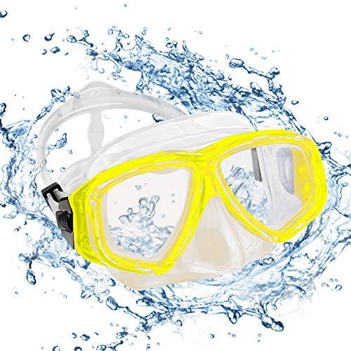 KOROSTRO Taucherbrille Erwachsene, Anti-Fog Schnorchelbrille Schwimmbrille Tauchmaske, Wasserdicht, Lecksicher, UV Schutz, Verstellbares Silikonband, Schnorcheln Enthusiasten Beste Wahl - Gelb