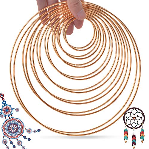 SOSMAR 16 Stück Metallringe Drahtringe Traumfänger Basteln Floral Hoops Ringe, Rosa Gold, 5/6,5/8/10/12/14/16/19cm Wandbehang Mobile Dekor Ring