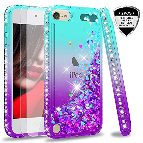 iPod Touch 7 Case iPod Touch 6 Case iPod Touch 5 Case with Tempered Glass Screen Protector 2 Pack for Girls LeYi Glitter Liquid Clear Phone Case for Apple iPod Touch 7th/ 6th/ 5th Gen Teal/Purple