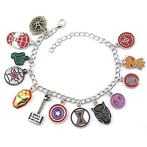 Personalizable Vengadores tema personaje colgante goteo aleación pulsera creativa hecha a mano joyería pulsera