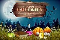 Qinunipoto 背景布 ハロウィン happy halloween 写真の背景 背景幕 写真ブース撮影 こうもり かぼちゃ ろうそく ほうき 丸い月 本 背景ポスター 写真背景 人物撮影 撮影用 小道具 ビニール 3x2.5m