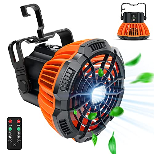 Portable Tent Fans for Camping-50 Hours Working Time with LED Lantern Rechargable Battery Operated USB Powered with Remote Control Power Bank 180°Head Rotation, Cordless Camp Fan for Beach, Picnic