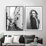Moda Paris Street Photography Poster Arte de la Pared Lienzo Pintura Negro Blanco Modelo Vintage Imprimir Imágenes Sala de Estar Decoración para el hogar   40x60cmx2 Sin Marco