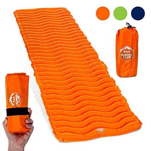 Air Mat+ Camping Sleeping Pad - Ultralight 17.2 OZ - Best Inflatable Sleeping Air Mattress for Backpacking, Hiking, Traveling – Lightweight & Compact Camp Sleep Pad (Orange)