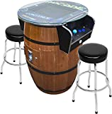 Creative Arcades Full-Size Commercial Grade Wine Barrel Style Pub Arcade Machine | Woodgrain Shell | 412 Classic Games | 2 Sanwa Joysticks | 2 Stools | 3-Year Warranty | Round Glass Top