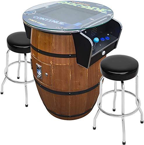 Creative Arcades Full-Size Commercial Grade Wine Barrel Style Pub Arcade Machine | Woodgrain Shell | 412 Classic Games | 2 Sanwa Joysticks | 2 Stools Included | 3-Year Warranty | Round Glass Top