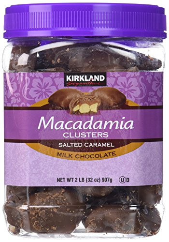 Kirkland Signature Macadamia Clusters Salted Caramel Milk Chocolate JAR of 2 Lb (32 Oz)