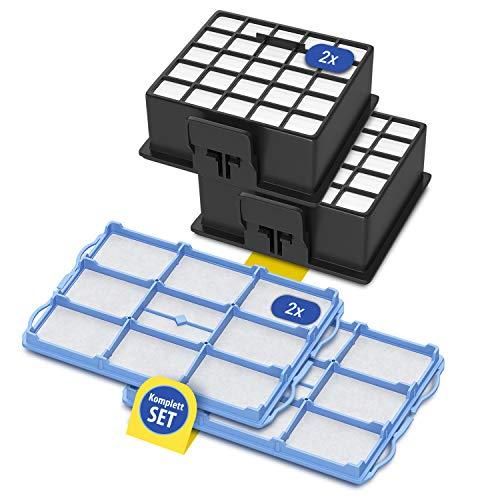 Hepa-Filter 2 Stk und 2x Motorfilter Komplett Set Ersatz für Bosch 00578731 00578863 Staubsauger Ersatzfilter Vormotorschutzfilter Ersatzteile Zubehör für Bodenstaubsauger