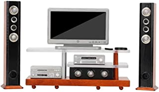 iLAZ 1:12 Scale Dollhouse Furniture Miniature Widescreen Television DVD HiFi Stereo Audio System Wood Tv Stand Set for Dol...