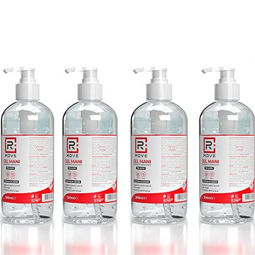 4 flaconi da 500ml gel igienizzante mani 70% ALCOL NUOVA VERSIONE EXTRA FORTE Gel mani profumato al...