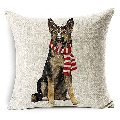 display08 Christmas Dog Santa Claus Reindeer Cushion Cover Throw Pillow Case Home Sofa Decors (#13 Winter German Shepherd Dog)