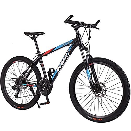 PBTRM Bicicleta Montaña MTB 26 Pulgadas 21 Velocidades para Hombres Y Mujeres, con Marco Acero Carbono Alta Resistencia con Frenos Doble Disco,Azul