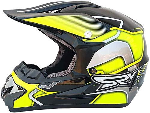 JUJ Casco de Moto para Adultos Casco de Cara Completa Kit de Casco anticolisión Todoterreno Dar Gafas y Guantes de Bicicleta Máscara Antipolvo B-re_M (56~57 cm)