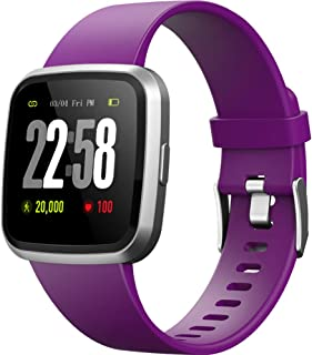 H4 Fitness Health 2in1 Smart Watch for Men Women Smartwatch with All-Day Heart Rate Monitor Activitity Tracker Waterproof Bluetooth Running Sports Pedometer Watches for Android & iOS phones (Voilet)