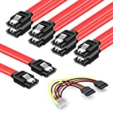 SATA Cable HDD SDD Data Cable CD Cable 5 Pack High Speed 6Gbps 15 Inch(Red)