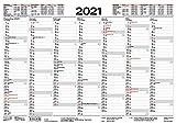 Tafelkalender A4 2021: 14 Monate auf Vorder- und Rückseite I Ferientermine und Feiertage