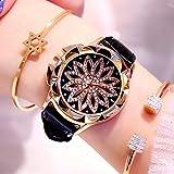 yuge 1pcs Strass Frauen Quarzuhren Damenuhr Leder Big Dial Kristall Diamant Blumenuhr Mode Armband...