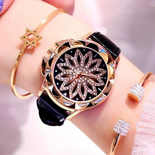 yuge 1pcs Strass Frauen Quarzuhren Damenuhr Leder Big Dial Kristall Diamant Blumenuhr Mode Armband Armbanduhr Schwarz