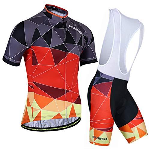 LBYSK Jerseys De Ciclismo para Hombre Trajes De Ciclismo De Manga Corta, Kit De Ropa para Bicicletas Men Ciclismo Jersey Juego De Jersey, Hombre MTB Jersey Transpirable Verano,Rojo,L