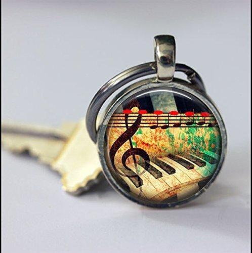 Schlüsselanhänger mit Musikinstrumenten, Klavier-Schlüsselanhänger, spezieller Schlüsselanhänger, Schlüsselanhänger, Zubehör, Glas, rund, silberfarben