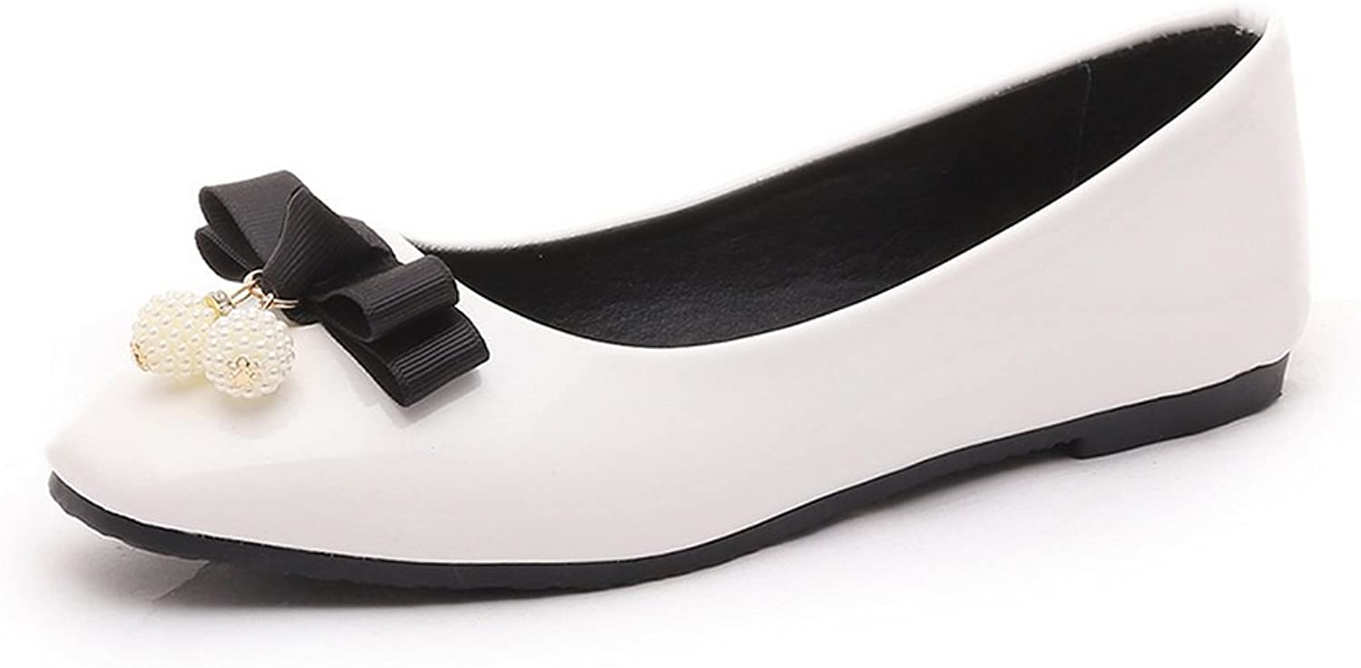 BalaMasa Ladies Bows Low-Cut Uppers Urethane Loafer-Flats