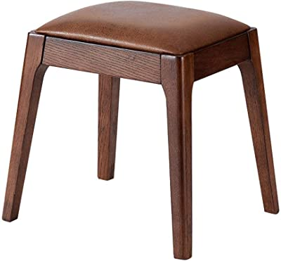 Folding Storage Ottoman Seat Leather Footstool Dressing Stool, Makeup Table Stool Fashion Dining Desk Seat Chair Modern Creative Small Solid Wood Bench Upholstered Foot
