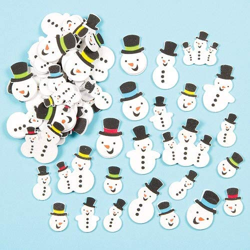 Baker Ross Snowman Foam Stickers (Pack of 80) Self Adhesive Puffy Scrapbook Stickers for Kids Arts and Crafts