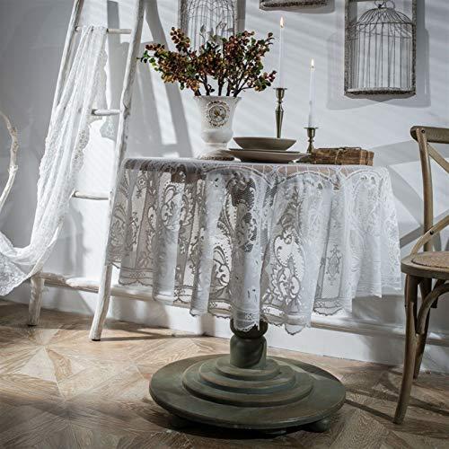 Elegante y lujoso mantel redondo blanco negro de encaje nórdico cubierta de tela retro bordado mantel de café mesa de comedor mantel hermoso