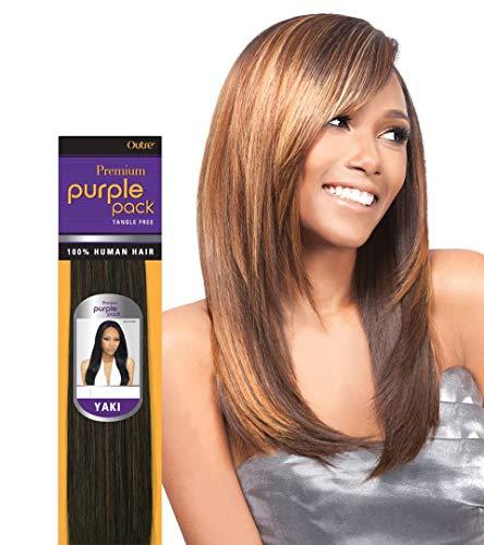 "PURPLE PACK YAKI (14"", 1B Off Black) - Outre Premium 100% Human Hair Weave"