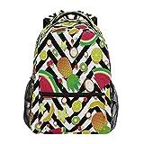 Xinkaize Mochila impermeable unisex de viaje, bolsa de deporte al aire libre, senderismo, camping, escuela, bolsa de libros – Chevron fruta, sandía, piña