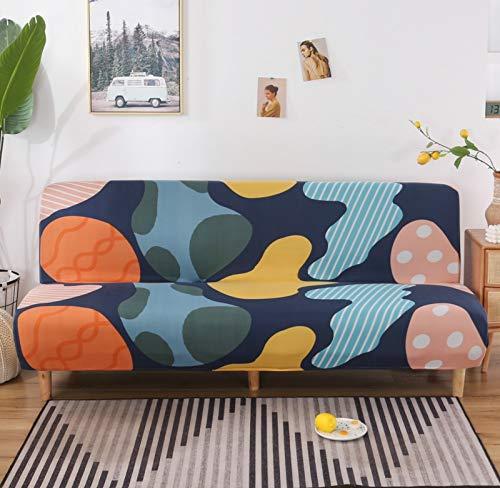 SAFAJINHH Armless Funda para Sofá,Elástica Spandex Plegable Sofá Cama Cubre Sofá,Universal Todo-Incluido Muebles Protector para Habitación Mascotas Niños-J M:160-190cm(62-74 Inch)